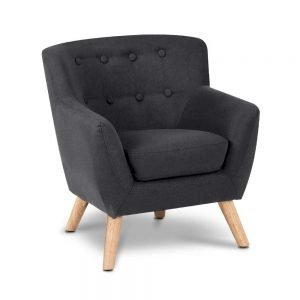 Kids Black Fabric Armchair