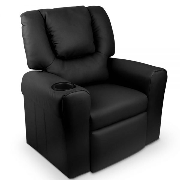 Kids Black Padded PU Leather Recliner Chair