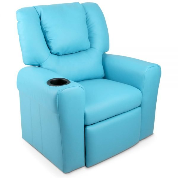 Kids Blue Padded PU Leather Recliner Chair