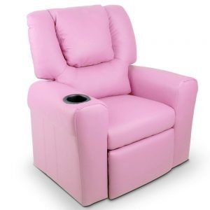 Kids Pink Padded PU Leather Recliner Chair