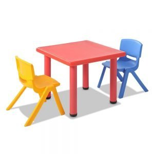 3 Pcs - Kids Table and Chairs Playset - Red