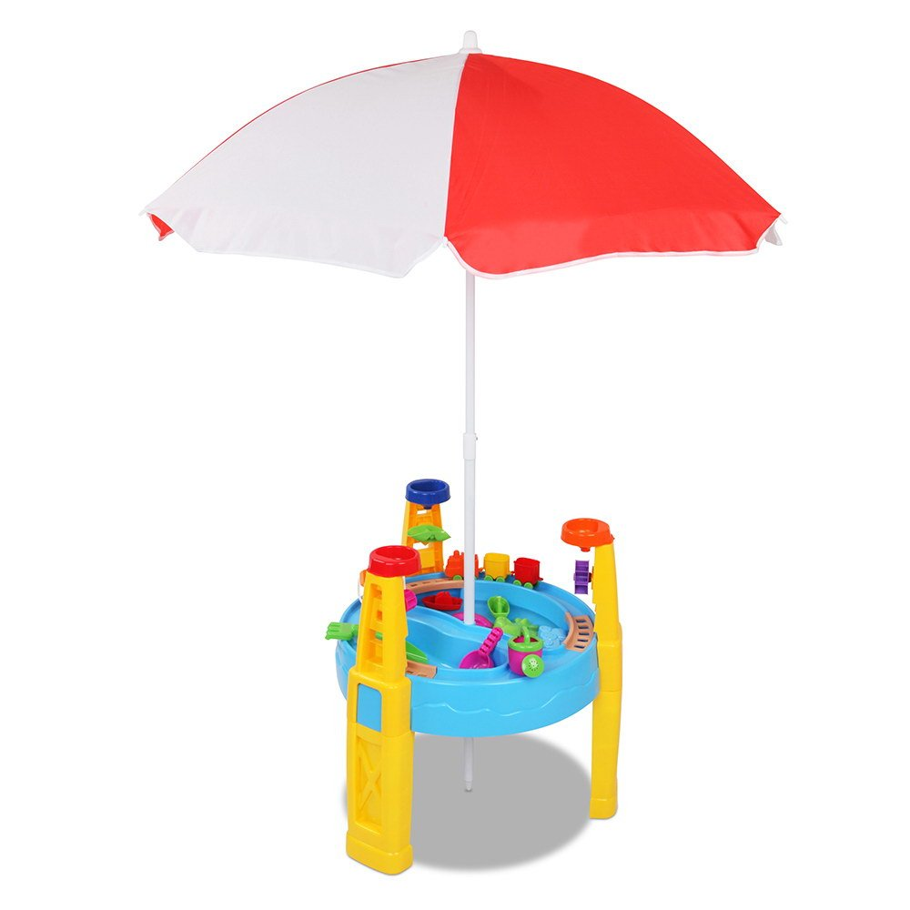 Kids Sand Water Table Play Set With Umbrella Outdoor