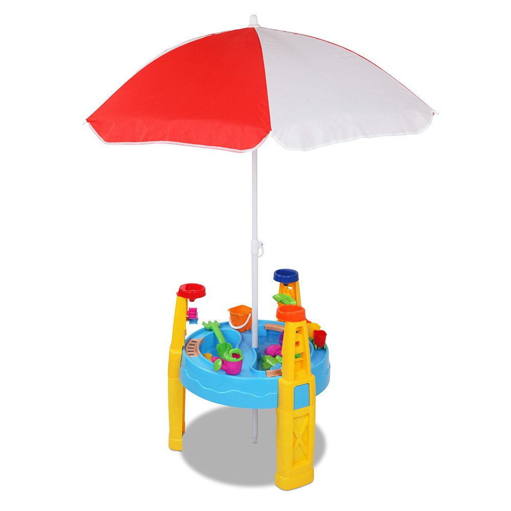 kids sand water table play set with umbrella outdoor play set table. Black Bedroom Furniture Sets. Home Design Ideas