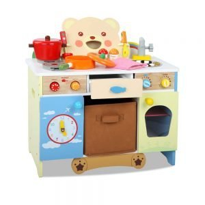 Children Bear Design Wooden Kitchen Playset