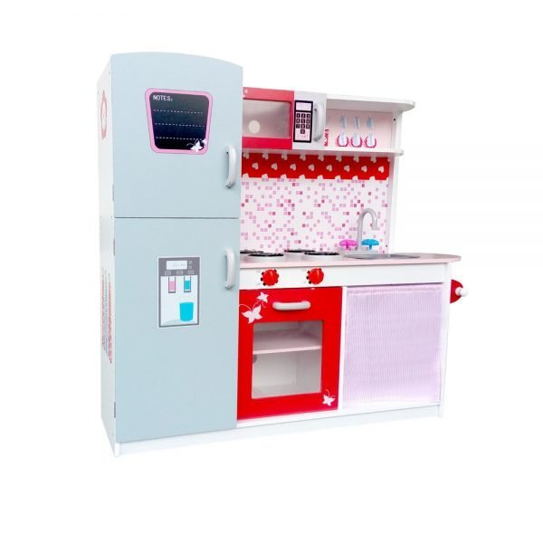 Children Wooden Kitchen Play Set with Fridge Pink