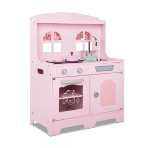Kids Pink Wooden Kitchen Playset