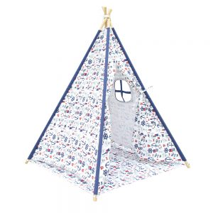4 Poles Teepee Tent w/ Storage Bag White Green