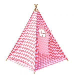 4 Poles Teepee Tent w/ Storage Bag Coral