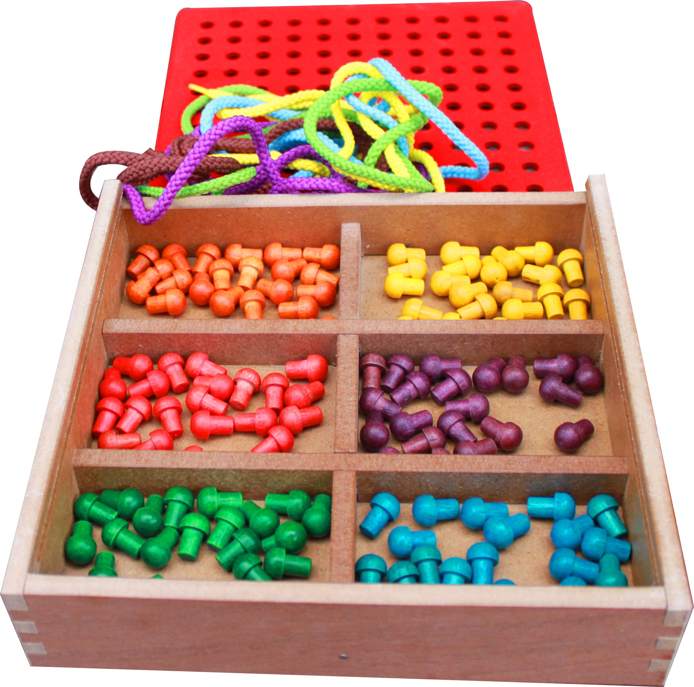 Froebel Gifts J2- Pegs And Lacing Box - Toddler Heaven