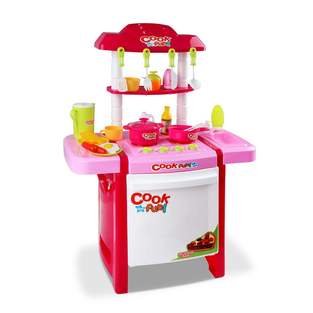 Kids 25 piece little chef kitchen play set pink for Cheap childrens kitchen sets