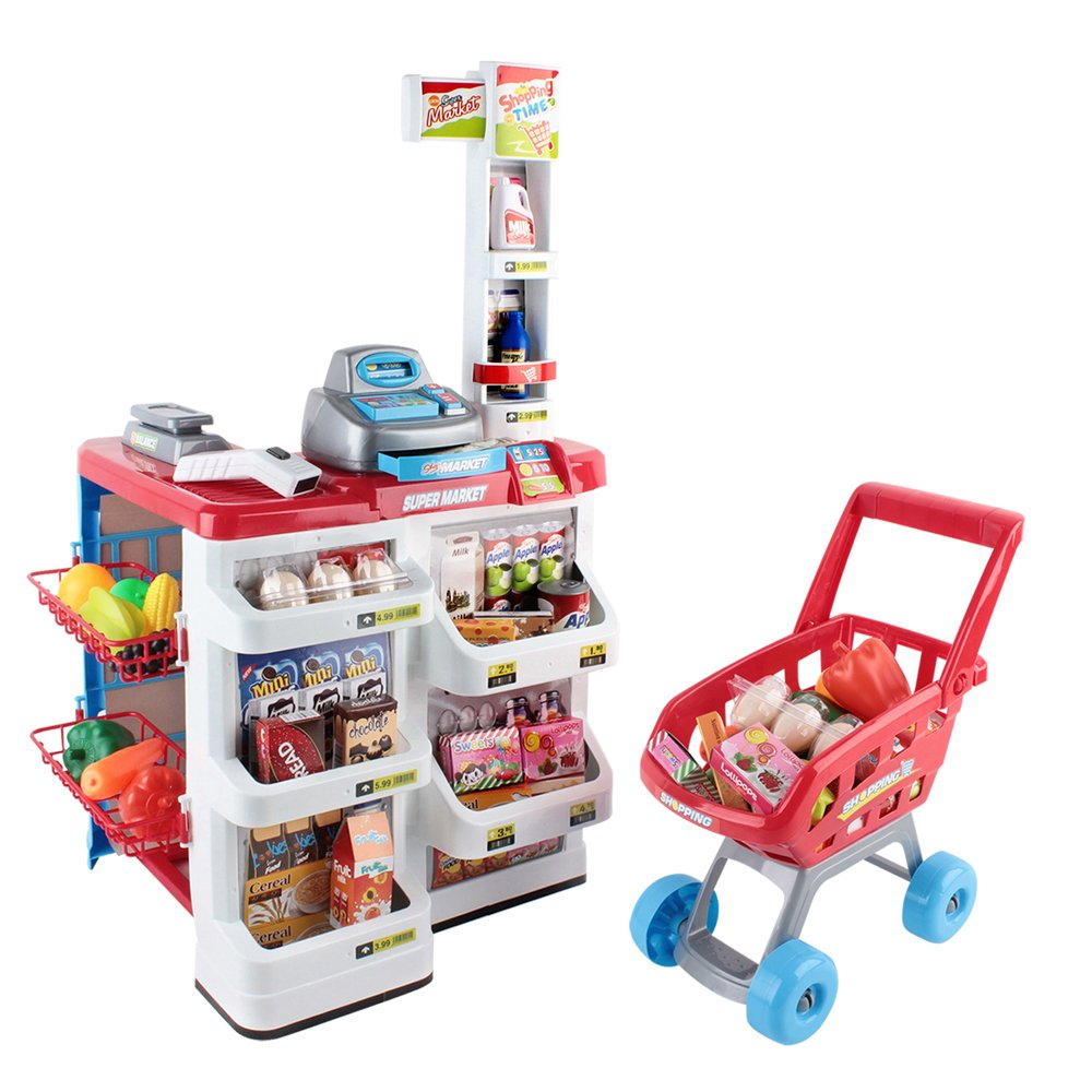 Pretend Play Toys : Supermarket pretend play set red white kitchen role