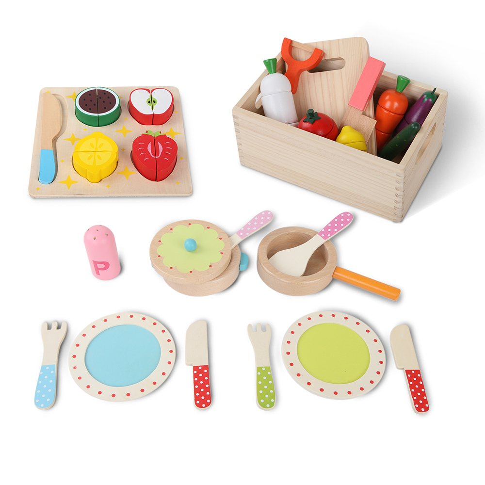 Children wooden kitchen 3 in 1 play set pretend role for Cheap childrens kitchen sets