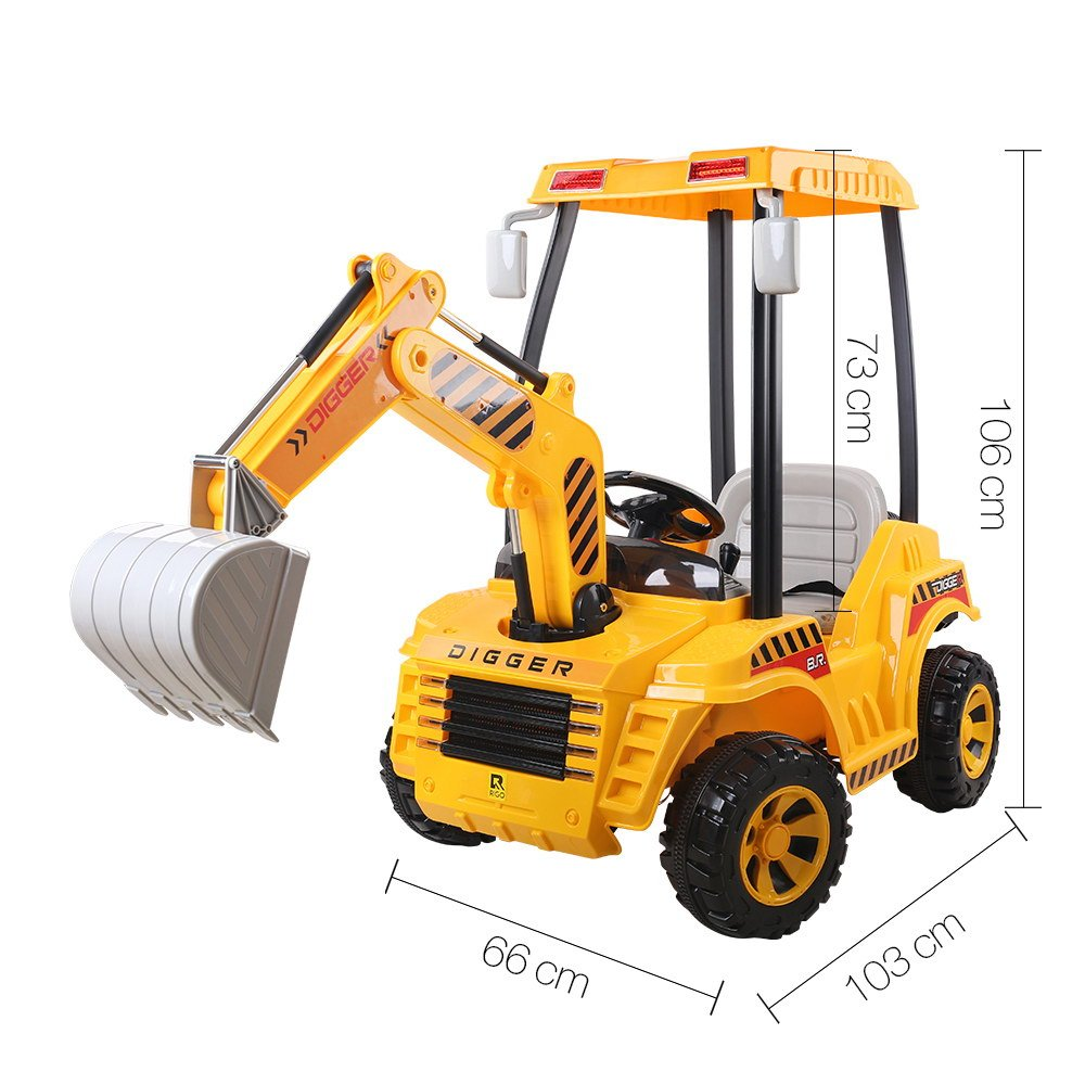 Kids Ride On Excavator With Tent Electric Digger Battery