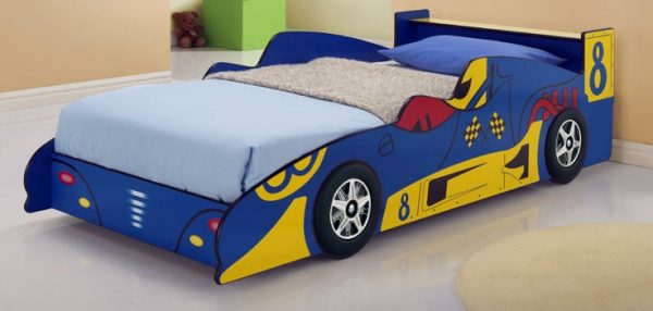 Blue Kids Racing Car Bed