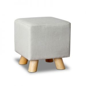Linen Square Foot Stool - Beige
