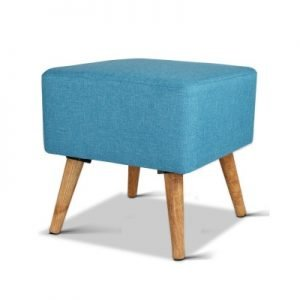 Linen Square Foot Stool - Blue