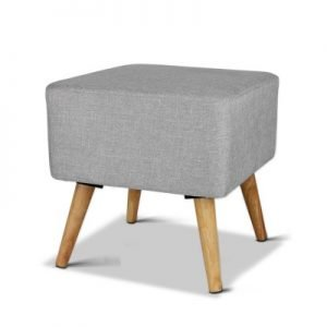 Linen Square Foot Stool - Grey