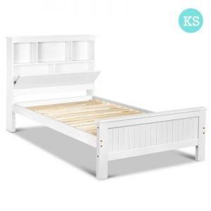 King Single Size Wooden Bed frame with Storage Shelf