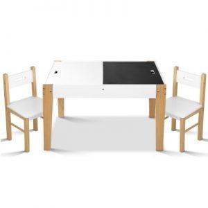 Artiss Kids Table and Chair Storage Desk - White & Natural